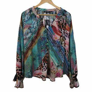 Tolani Collection Colorful Animal Patchwork Blouse